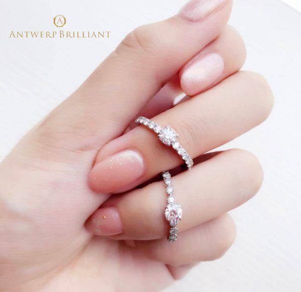 ダイヤモンドがキラキラして綺麗な結婚指輪は大人花嫁に人気ですディーラインはアントワープブリリアントの人気結婚指輪で東京ではブリッジ銀座だけのオンリーワン