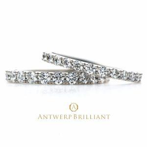ダイヤモンドフルエタニティDlineネビュラ全周ダイヤモンドのエンゲージ婚約リングは花嫁の憧れアントワープ研磨のダイヤ使用