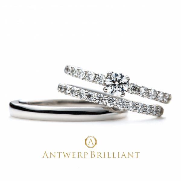 ゴージャスな重ねつけエンゲージリングと結婚指輪の相性抜群ストレート王道スタイル
