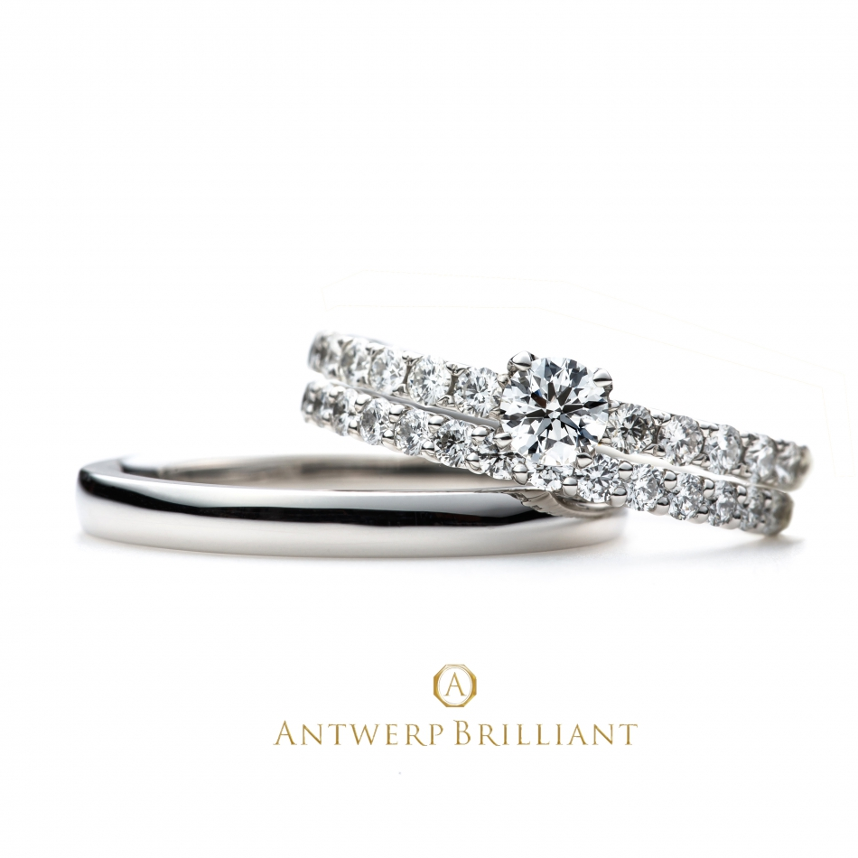 """D Line Star"" Diamond Harf Eternity Ring Set"