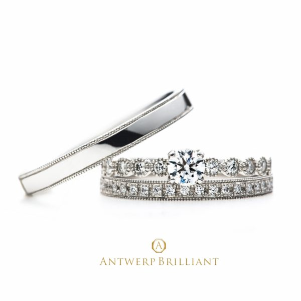 """D-Line Star Classic"" Millgrain Diamond Line Ring Set"