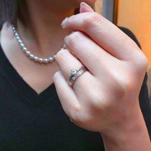 幸せの一本道を行こう3ダイヤモンドの幅広デザイン