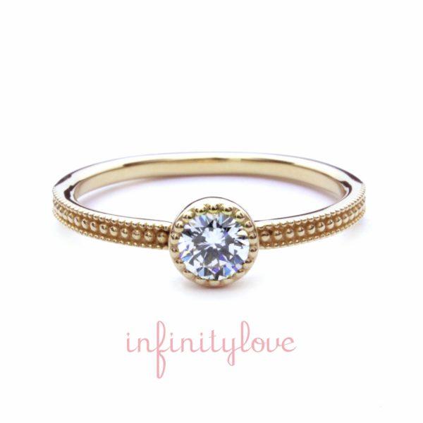 銀座で人気のミルグレインが可愛いアンティーク調の婚約指輪