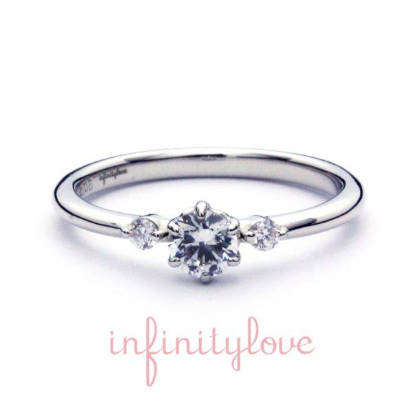 インフィニティラブのジャスミンは花モチーフの人気婚約指輪シンプル王道スタイルのスリーストーン3石ダイヤモンドでサイドメレ―エンゲージリング