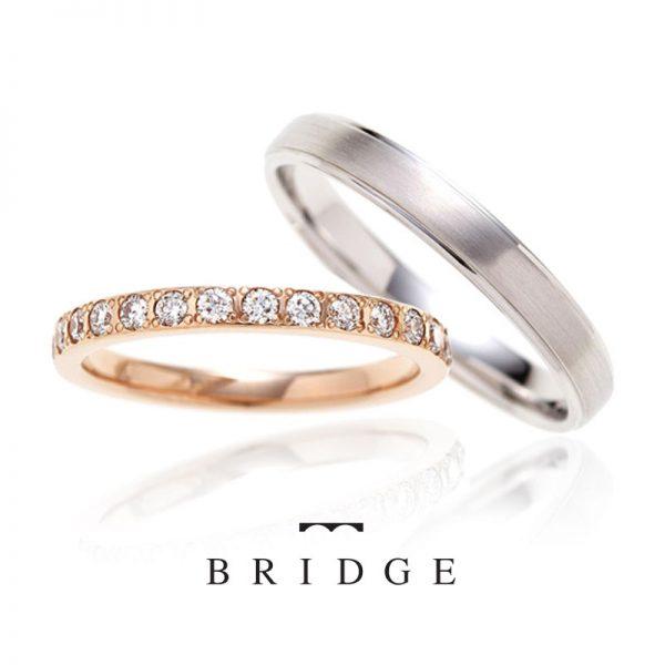 女性用はダイヤモンドラインの結婚指輪ロンドン留で引っかかりなく普段使いもOK男性用は直線的で硬派な印象が人気