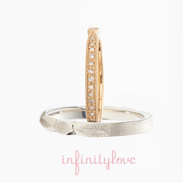 アンティーク技法 ミルグレイン 相性の良いピンクゴールドの結婚指輪マリッジリングはステーションデザインで男性にも人気プラチナの確かな質感