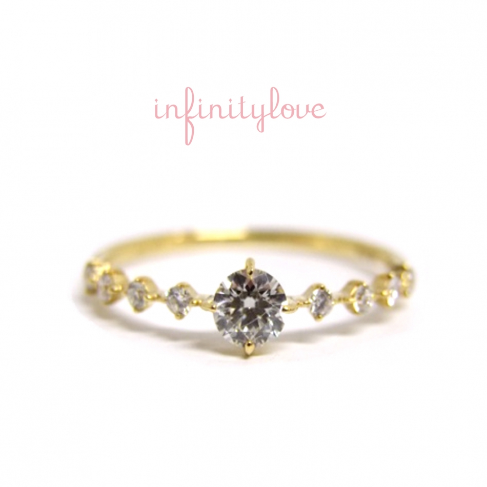 ウォームInfinityloveインフィニティラブの華奢なゴールドダイヤモンドエンゲージ銀座で人気