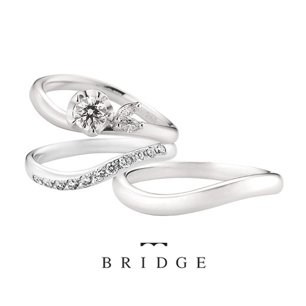 運命の花はユキツバキがモチーフの婚約指輪プロポーズに選ばれてるクール系マーキースがかわいいアクセントでブリッジ銀座で人気です。