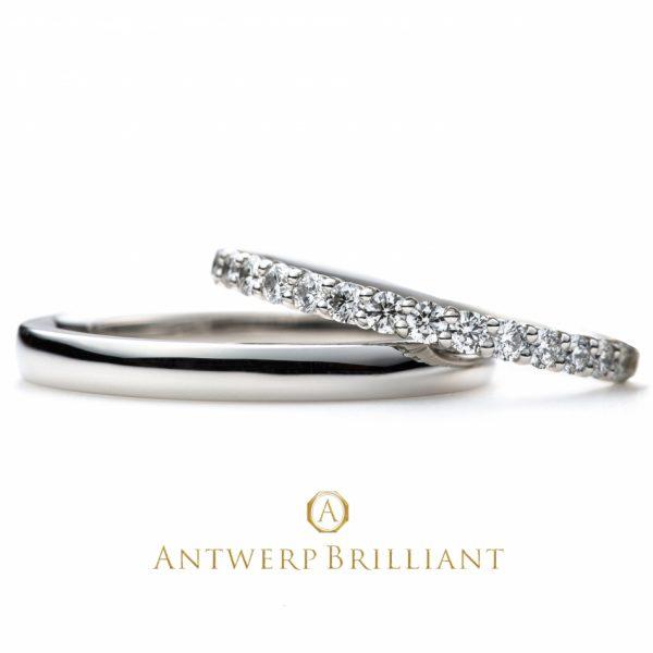ハートアンドキューピッドのダイヤモンドライン結婚指輪王道スタイルのストレートデザインで重ねつけもきれいな憧れマリッジ