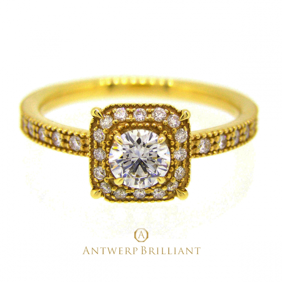 """Bruges"" millgrain diamond surround ring"