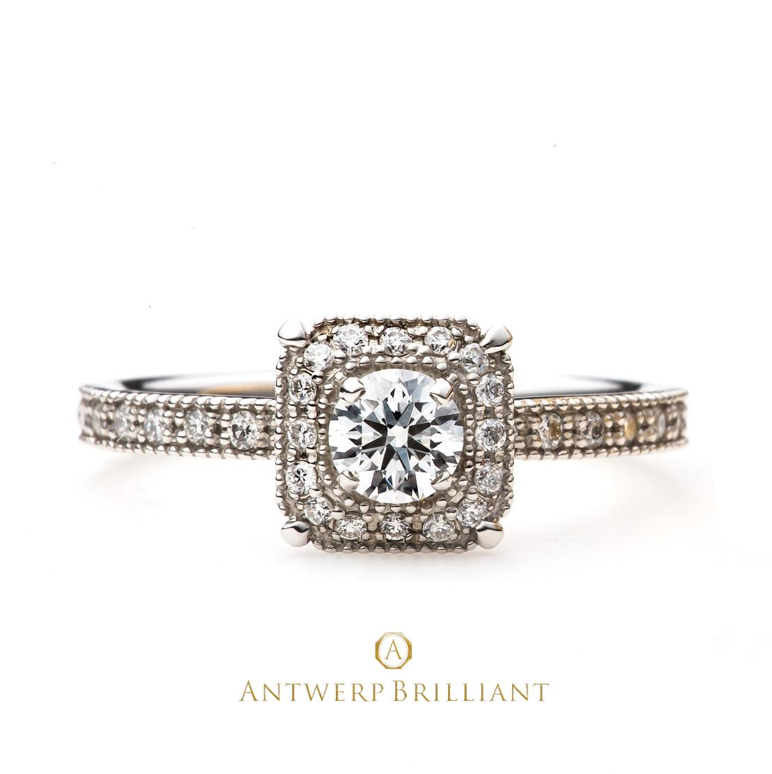 BELGIUMブルージュ ダイヤモンド婚約リング アンティークミルが人気の豪華なエンゲージ
