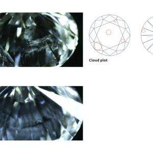 ダイヤモンド内部の微小結晶の集合が雲の様に見える事からクラウドと呼ぶ