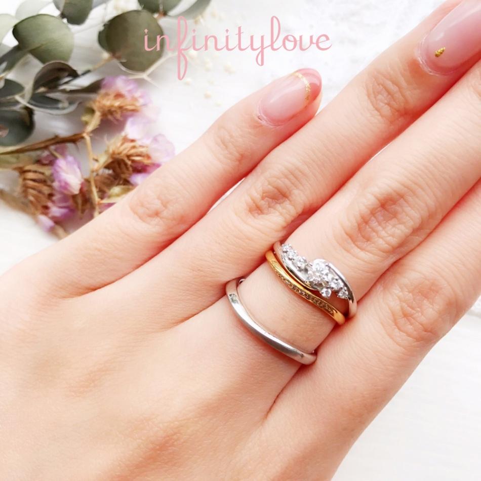 銀座で人気のセットリングのビューティーは、ダイヤモンドラインが美しいです。より華やかさを楽しみたい方は重ね付けをオススメします。