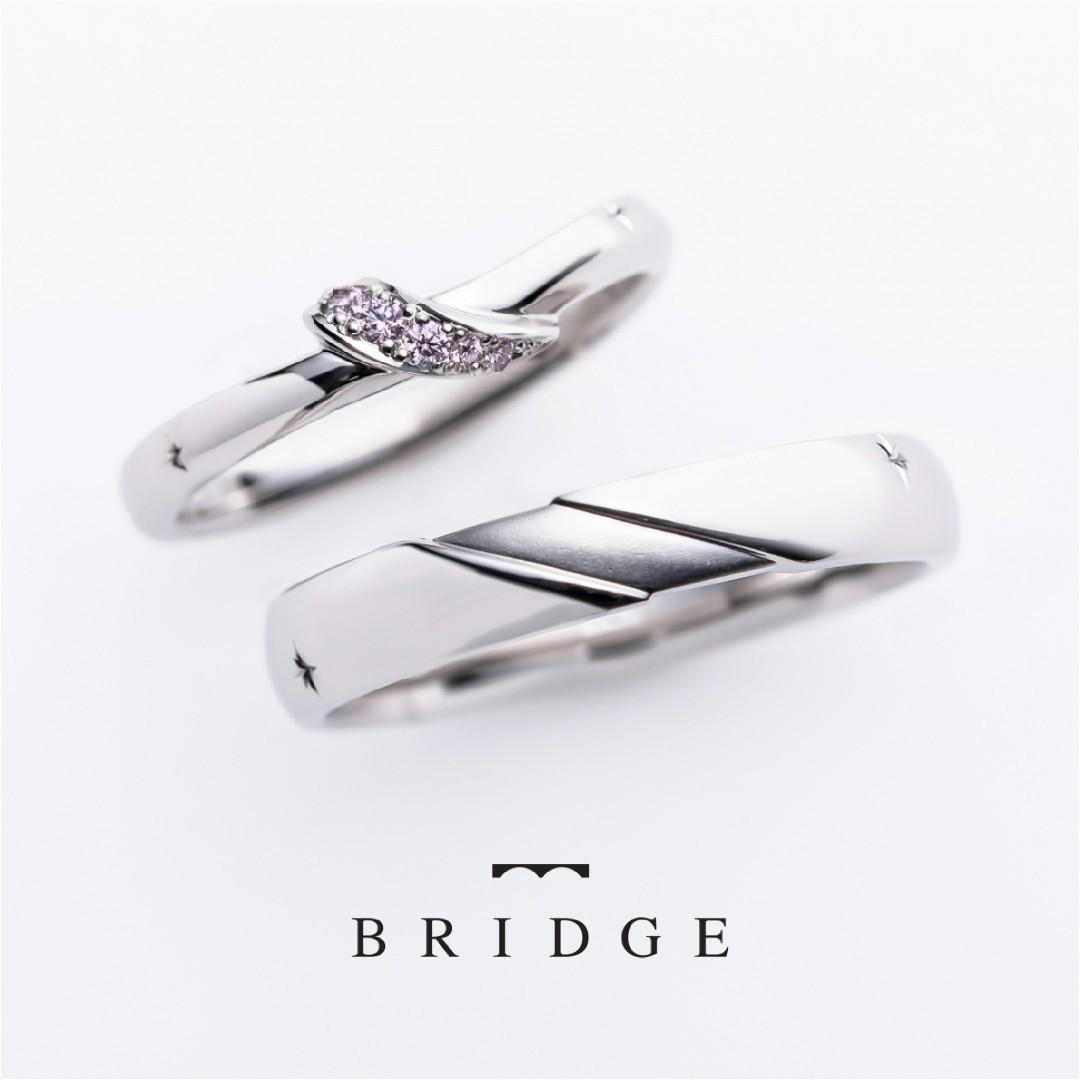 ピンクダイヤモンドアレンジの結婚指輪 BRIDGEの春の足音