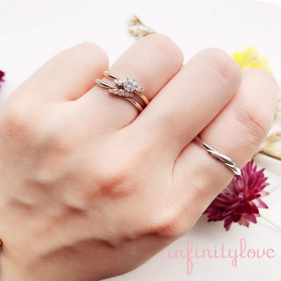 華奢なリング節のある指コンプレックス インフィニティラブのセットリングブリッジ銀座ダイヤモンドを選んでセミオーダー