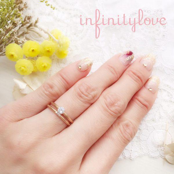 ピンクゴールドがカワイイ婚約指輪、結婚指輪の重ね付け