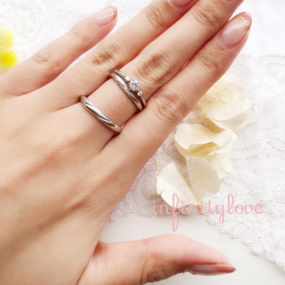 東京 銀座 サプライズプロポーズ 可愛い シンプル 花モチーフ 婚約指輪 結婚指輪