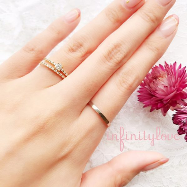 """ブライダルリング専門店のBRIDGE銀座店で人気、結婚指輪、婚約指輪からダイヤモンドラインが美しいアンティーク調のデザインをセレクト infinitylove """"should(理)"""""""