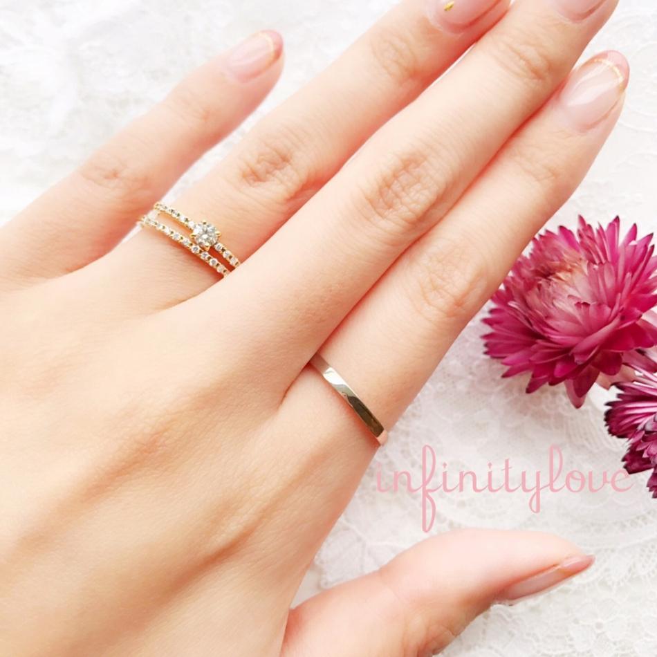 銀座で人気のシンプルで大人かわいい、プラチナとゴールドのコンビが可愛くて、ダイヤモンドラインが美しいハーフエタニティのShoidの婚約指輪と結婚指輪