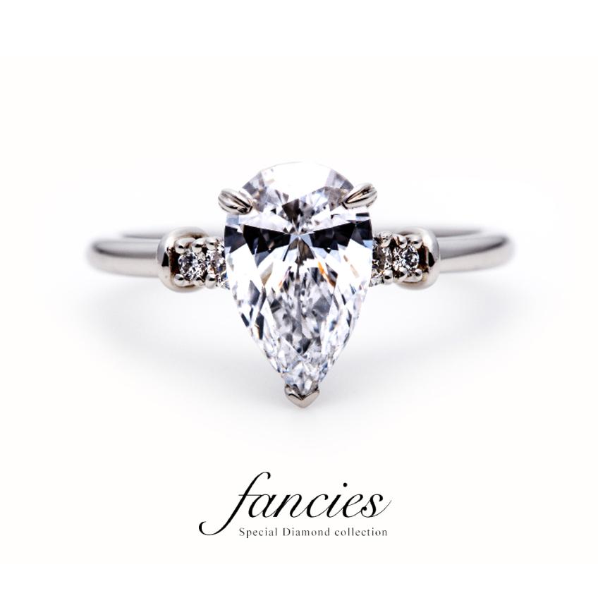 しずく型の美しいダイヤモンドをペアシェイプと呼ぶ