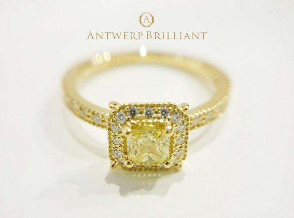イエローダイヤモンドを既存のデザインにセッティングしてオリジナル作成の婚約指輪に