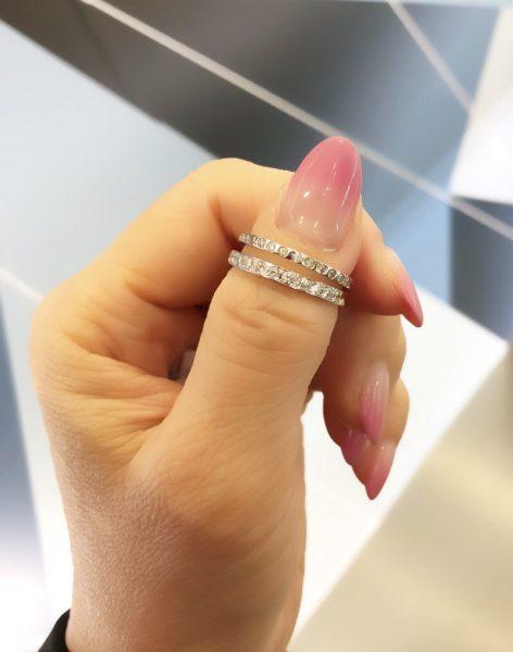 """ブライダルリング専門店のBRIDGE銀座店で人気、結婚指輪、婚約指輪からダイヤモンドラインが美しいデザインをセレクト BRIDGE""""煌めく水面"""""""