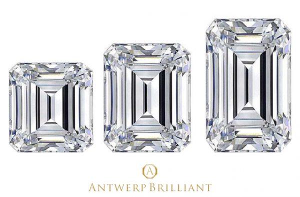 エメラルドカットの縦横比較ダイヤモンド婚約指輪はブリッジ銀座アントワープブリリアントギャラリーへ