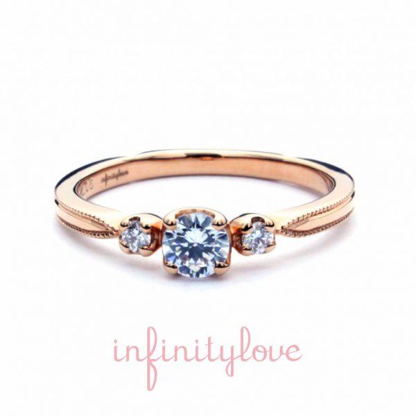 ピンクゴールドが人気の婚約リングのサイドアームは花嫁に大人気のアンティーク技法のミルグレインを採用インフィニティラブ銀座