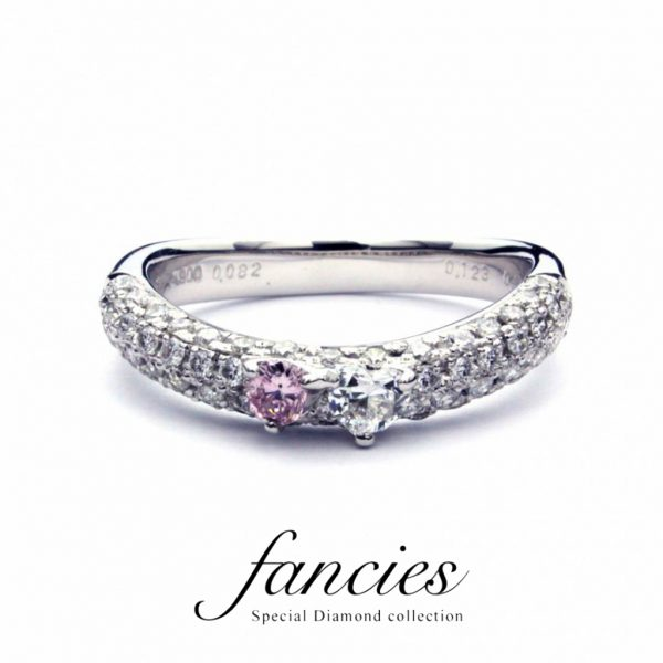 パヴェセッティングが美しいピンクダイヤモンドのリング ブリッジ銀座でも小さいハートのダイヤモンドが注目されてます