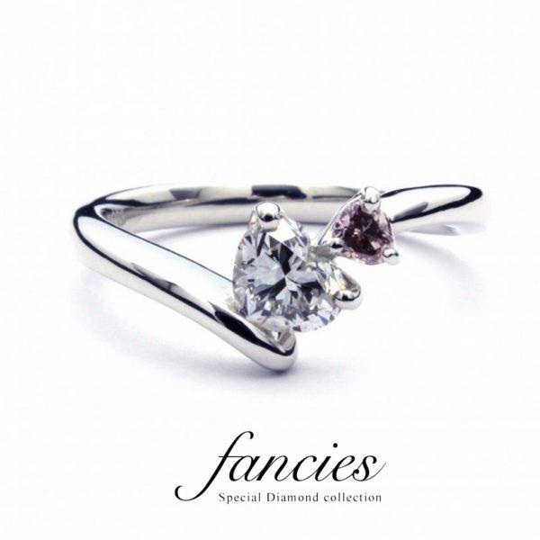 ピンクダイヤモンドを使ったダブルハートのリングはブリッジ銀座の人気シリーズファンシーズより