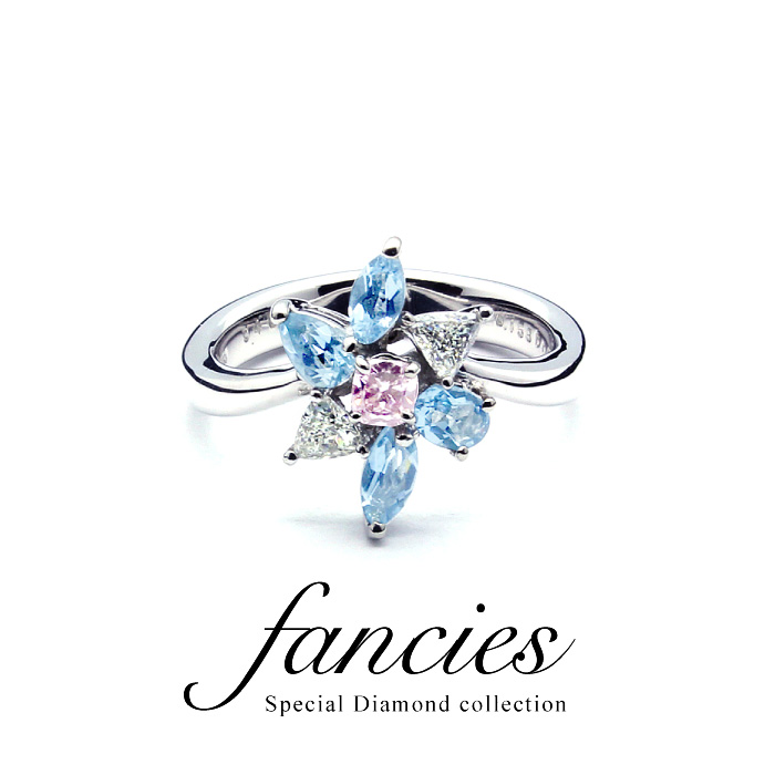 Aquamarine & Pink Diamond Ring