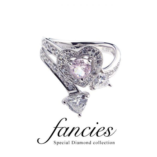 LOVE LOVE LOVE Diamond heart Shape Ring
