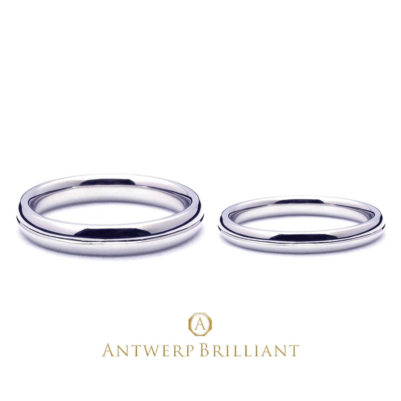 シンプルなプラチナ素材の結婚指輪