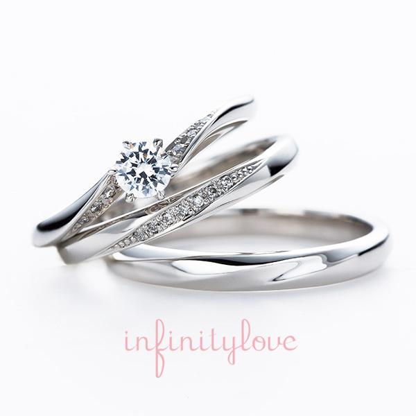 銀座で人気のシンプルなプラチナの婚約指輪と結婚指輪のセットリング