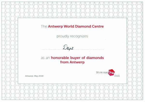 AWDCのオーナブルバイヤーとして表彰さたBRIDGE銀座アントワープブリリアントギャラリーでダイヤモンドの婚約指輪