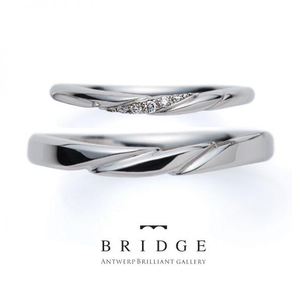 シンプル プラチナ ダイヤモンドラインが美しい 結婚指輪