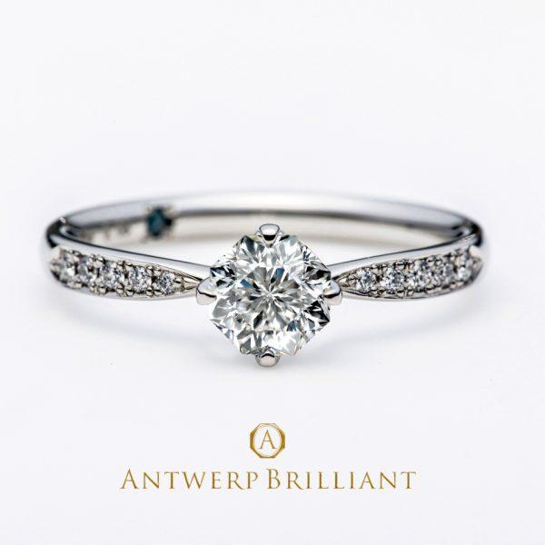 シリウスは一番明るい星くびれの様な絞りが指を美しく見せると人気のダイヤモンドエンゲージリングはネイキッドセッティングの4点留め