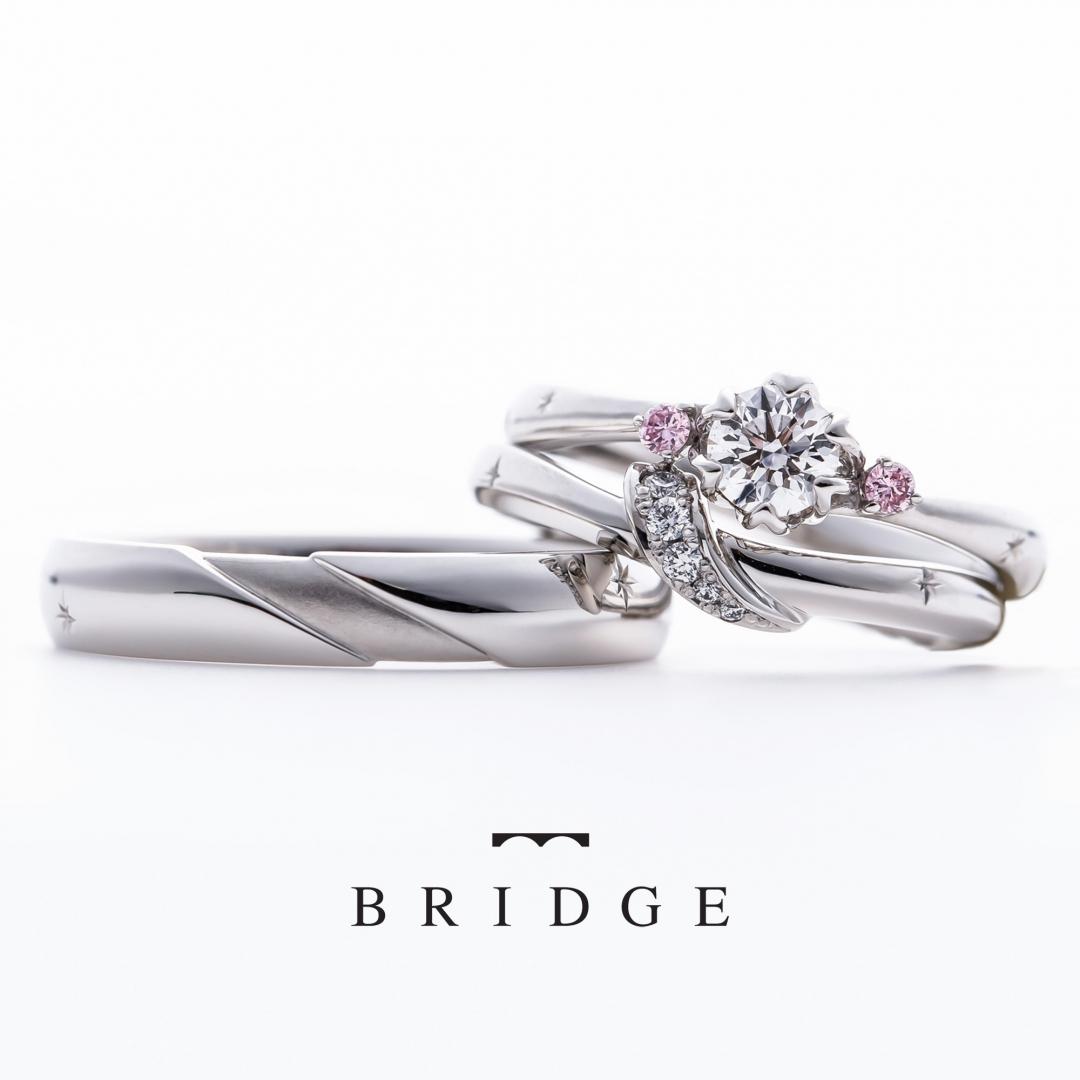 BRIDGE銀座がおすすめするプロポーズにあげたい花モチーフのピンクダイヤモンドが可愛い婚約指輪と結婚指輪