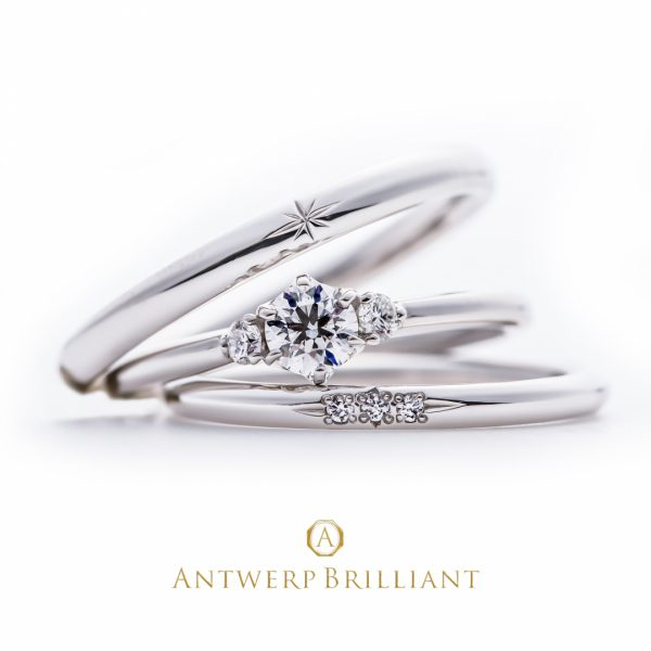 """Asterism"" Three Stone Diamond Ring Set"