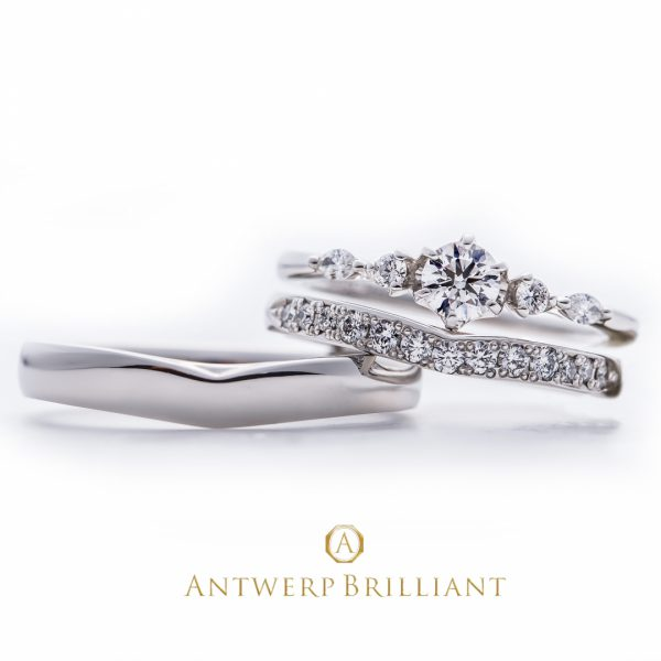 Five Star Rround&Marquise cut Diamond Line Ring Set