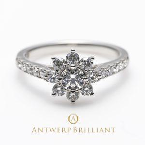 銀座で人気のAntwerpBrilliant ヘイローデザイン婚約指輪 StarShine