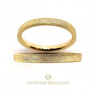 新作のアンティークメーゼ加工とミルグレインが可愛いイエローゴールドのアンティーククラッシクな結婚指輪 AntwerpBrilliant D line Star Classic