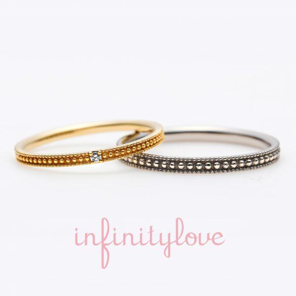 アンティーク可愛いミルグレインの結婚指輪日常使いできるデザインで使いやすい