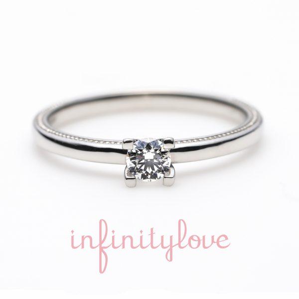 ミルグレインが可愛いモチーフデザインの婚約指輪
