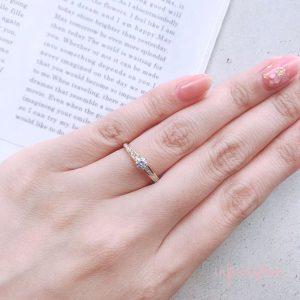 ジョインjoinインフィニティラブのセットリングブリッジ銀座ダイヤモンドを選んでセミ―オーダー華奢なゴールド結婚指輪