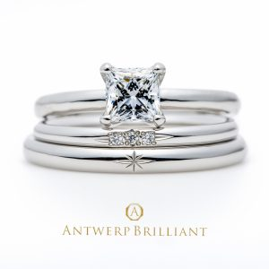 "Asterism""Princess Cut"" Set Ring"