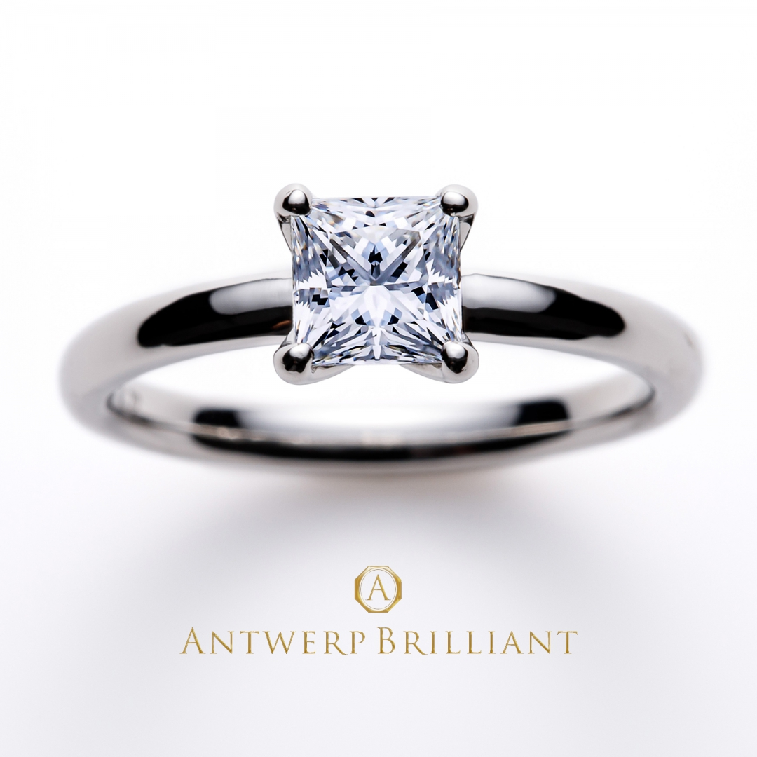 """Asterism""Princess Cut Solitaire Diamond Ring"