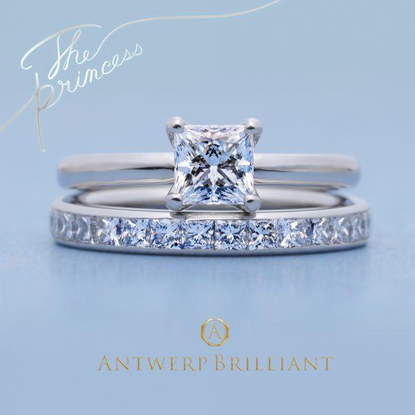 美しいトリプルエクセレントのプリンセスカットの婚約指輪