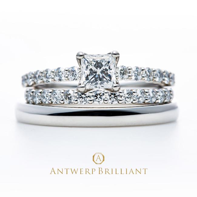 プリンセスカットダイヤモンドのセットリングで婚約と結婚を重ねつけ