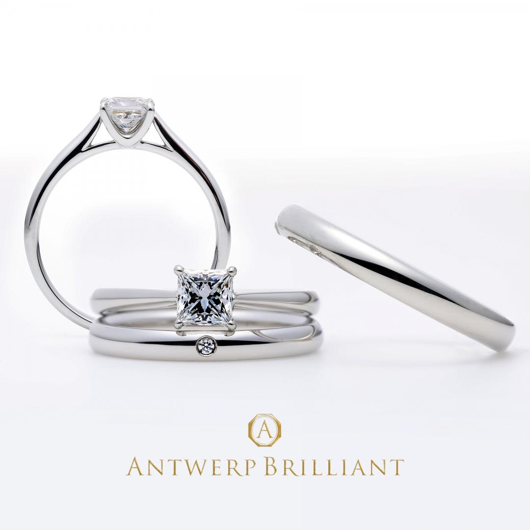 美しいプリンセスカットのプラチナソリテール婚約指輪 Antwerpbrilliant マジェスティ